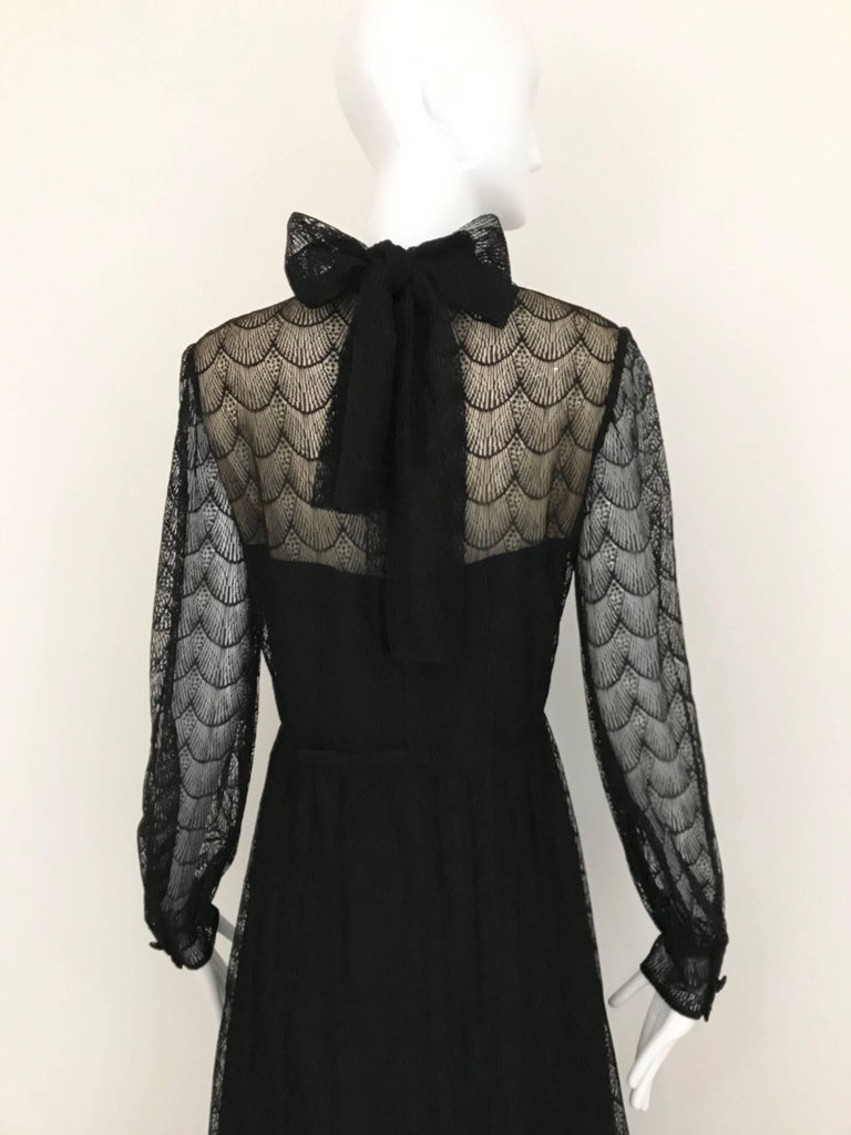 1970s Givenchy Black Lace Maxi Party Dress For Sale 1