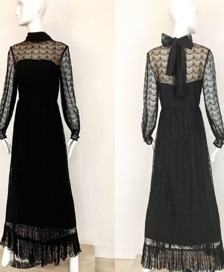 1970s Givenchy Black Lace Maxi Party Dress For Sale 2