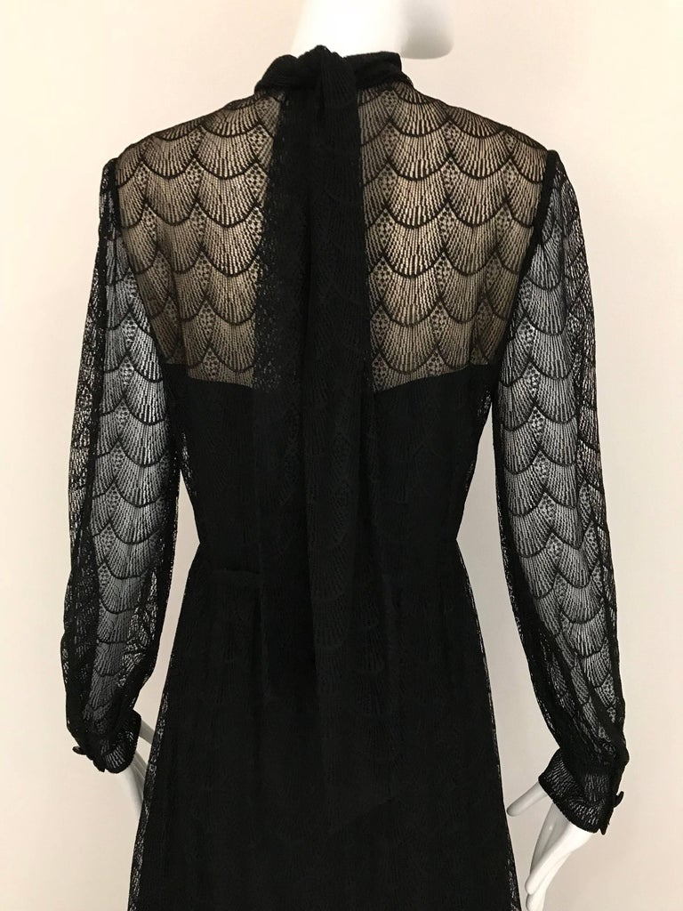 1970s Givenchy Black Lace Maxi Party Dress For Sale 3