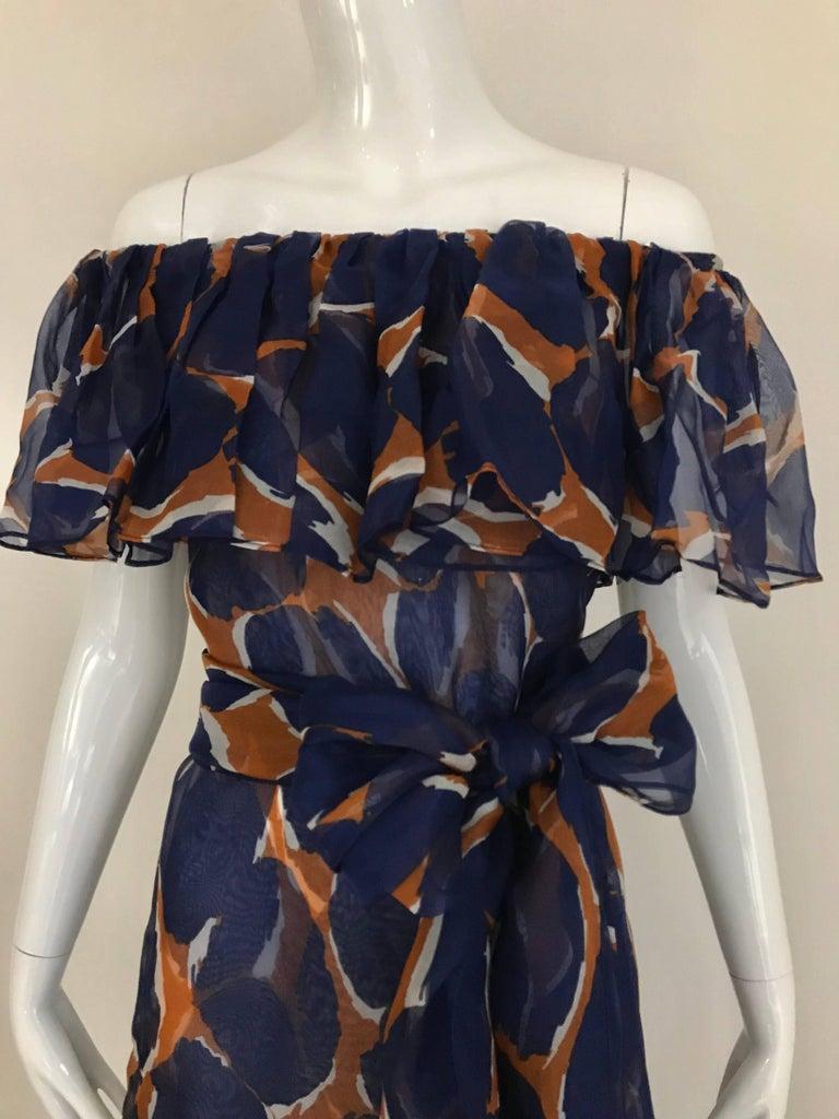 Vintage Yves Saint Laurent Blue and Brown Print Flamenco Style Silk Dress 3