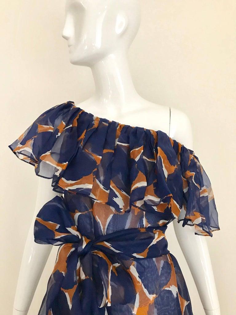 Vintage Yves Saint Laurent Blue and Brown Print Flamenco Style Silk Dress 2