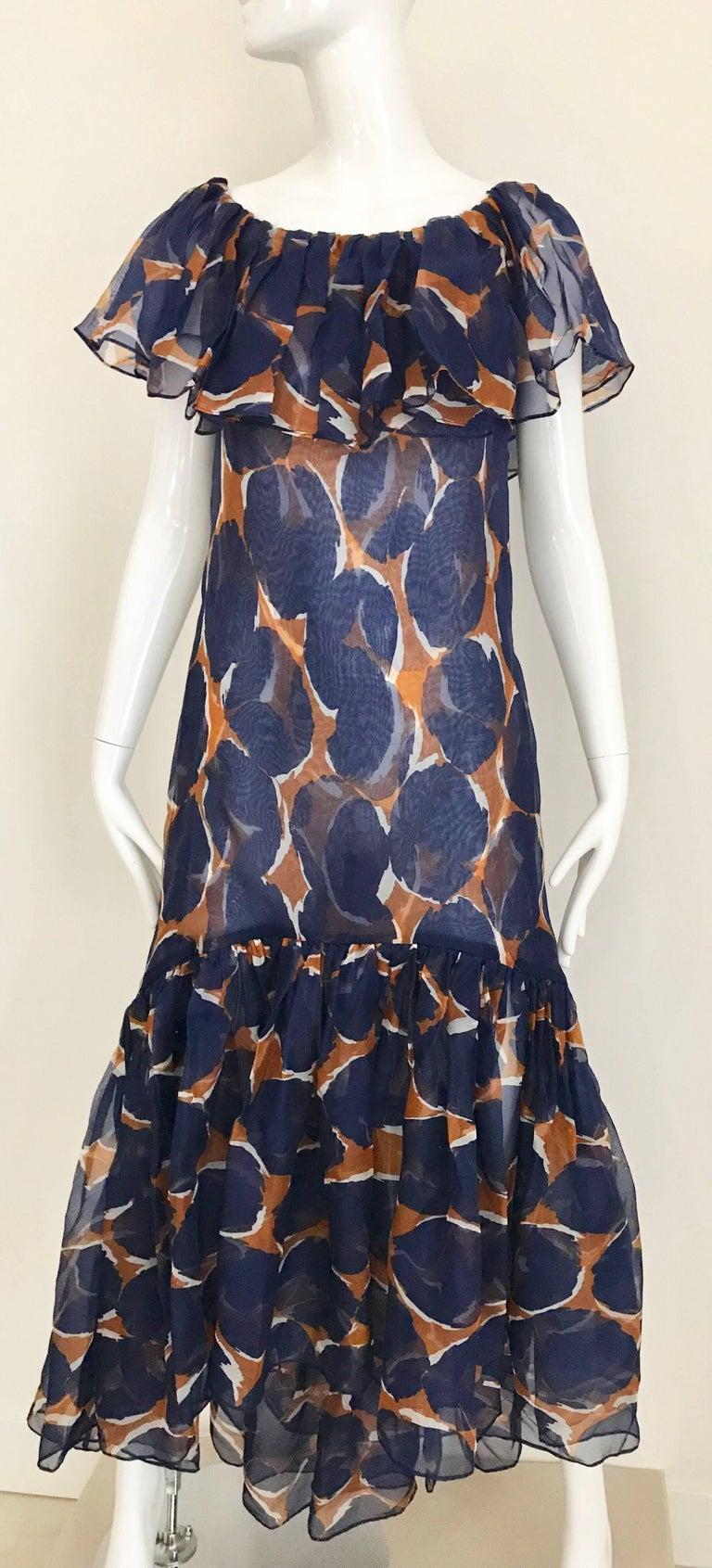 Vintage Yves Saint Laurent Blue and Brown Print Flamenco Style Silk Dress 5