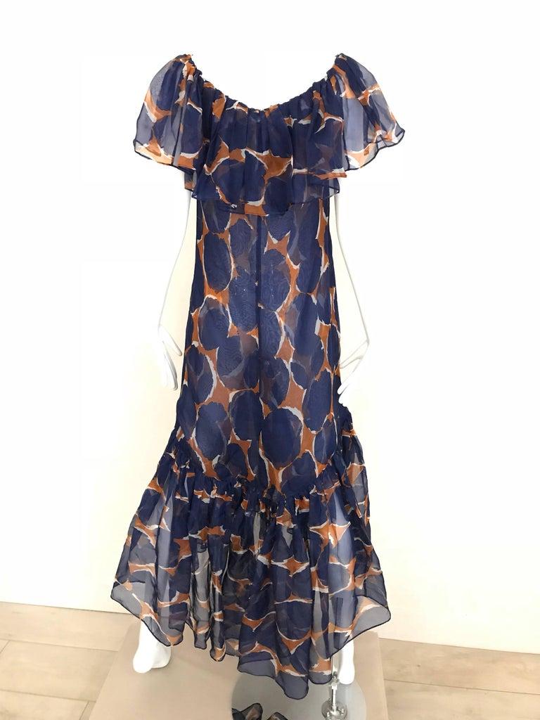 Vintage Yves Saint Laurent Blue and Brown Print Flamenco Style Silk Dress 6