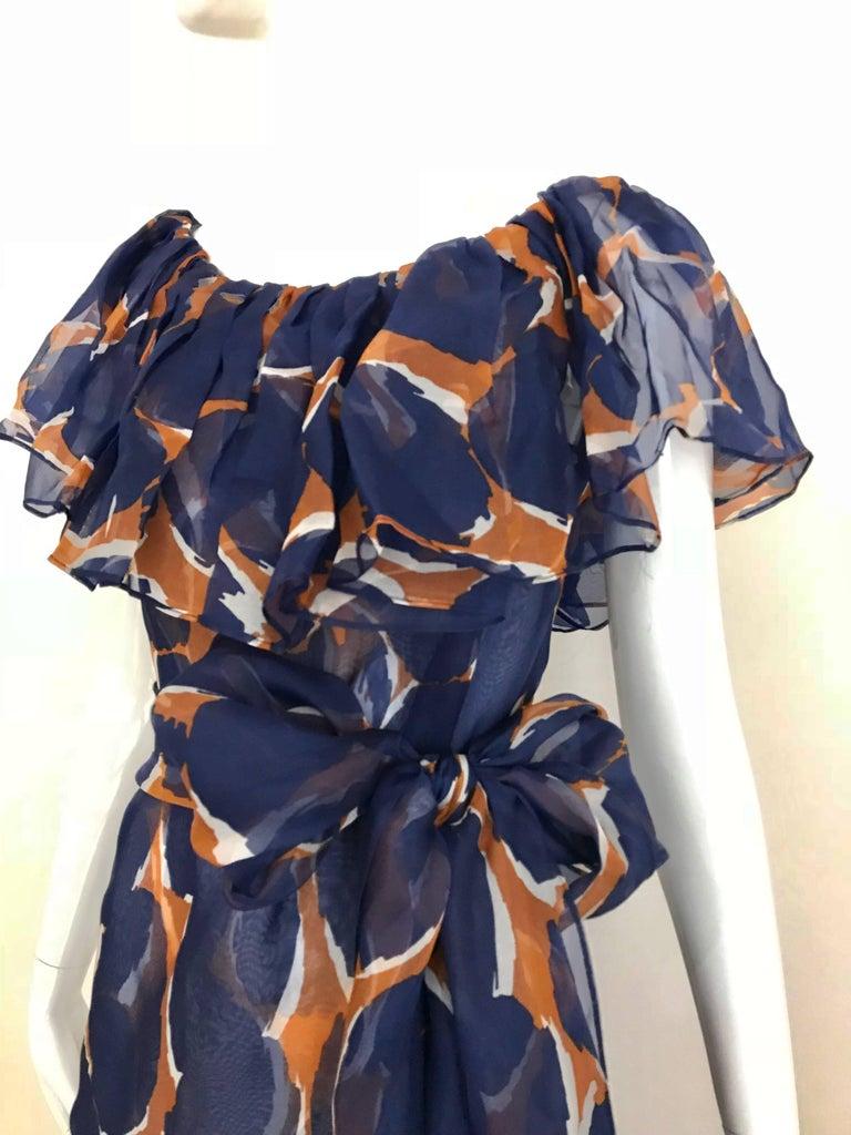Vintage Yves Saint Laurent Blue and Brown Print Flamenco Style Silk Dress 7