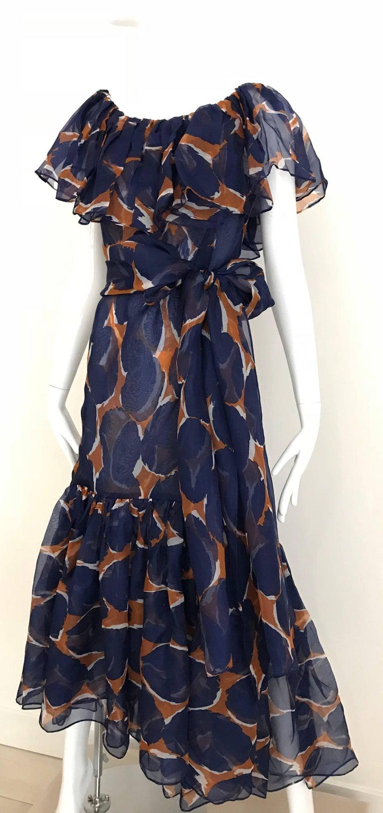 Vintage Yves Saint Laurent Blue and Brown Print Flamenco Style Silk Dress 8