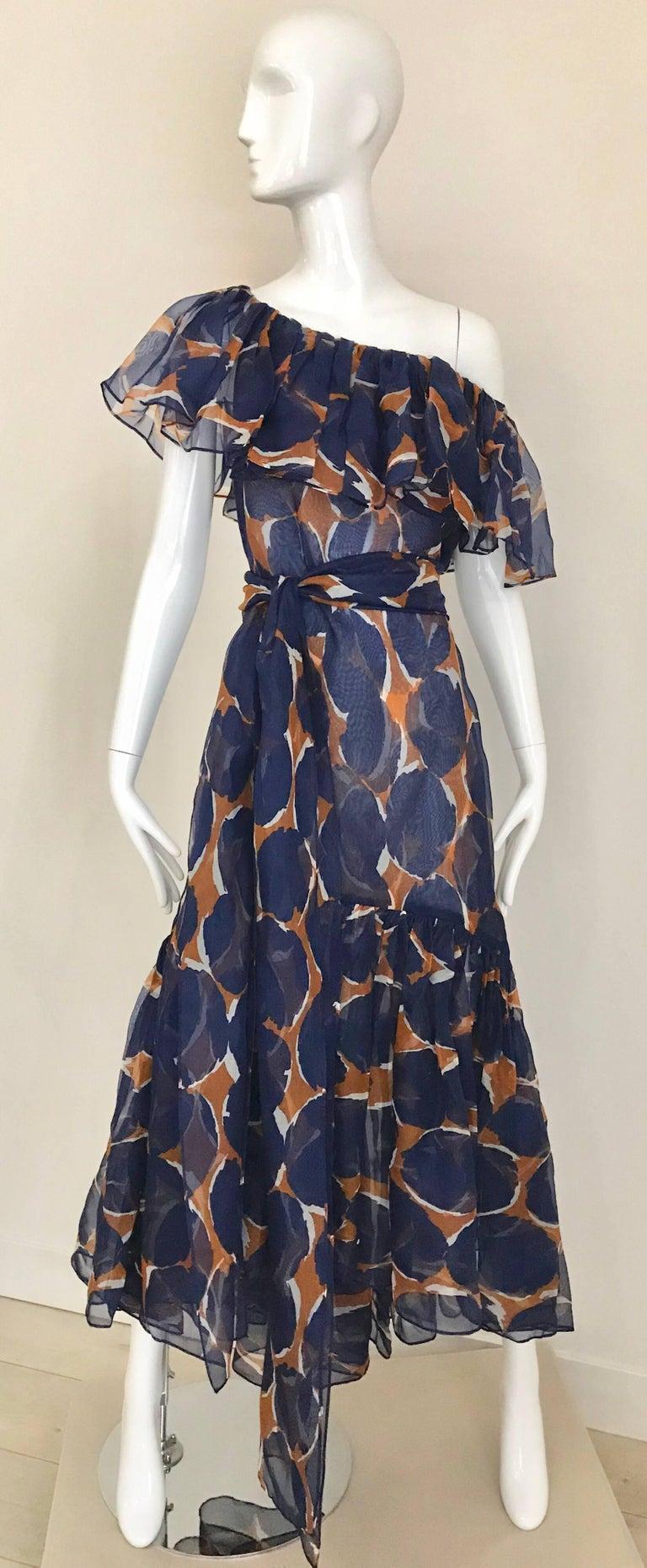 Vintage Yves Saint Laurent Blue and Brown Print Flamenco Style Silk Dress 9