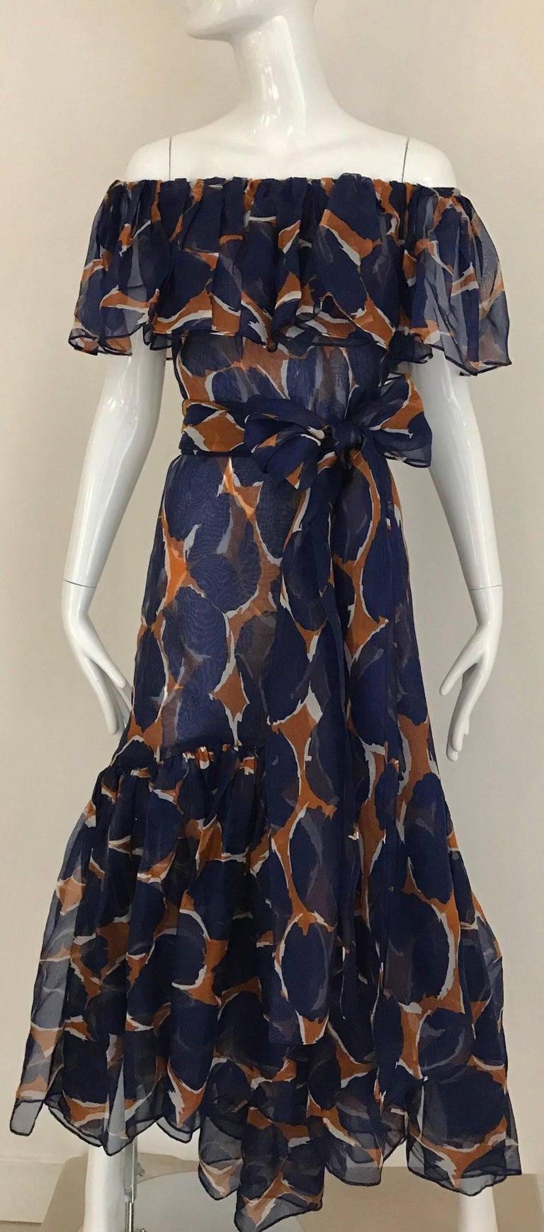Vintage Yves Saint Laurent Blue and Brown Print Flamenco Style Silk Dress 10