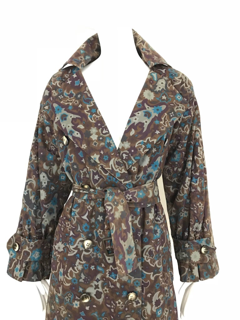 Black 1970s Saint Laurent Brown, Teal and Grey Paisley Print vintage Trench Coat For Sale