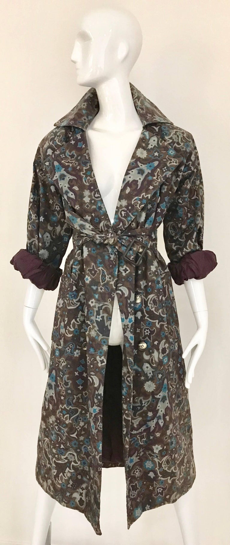 Women's 1970s Saint Laurent Brown, Teal and Grey Paisley Print vintage Trench Coat For Sale