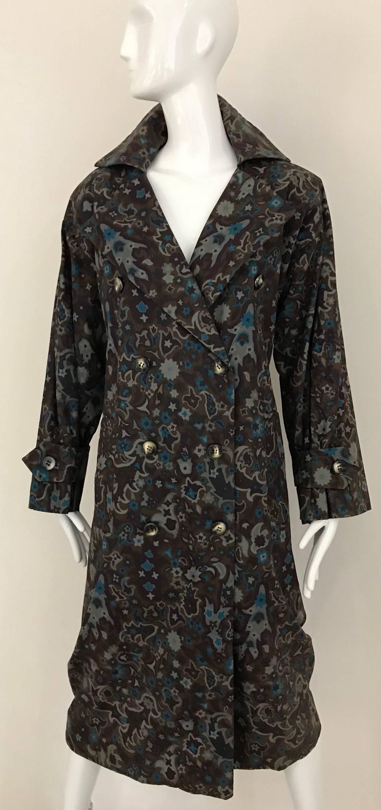 1970s Saint Laurent Brown, Teal and Grey Paisley Print vintage Trench Coat For Sale 3