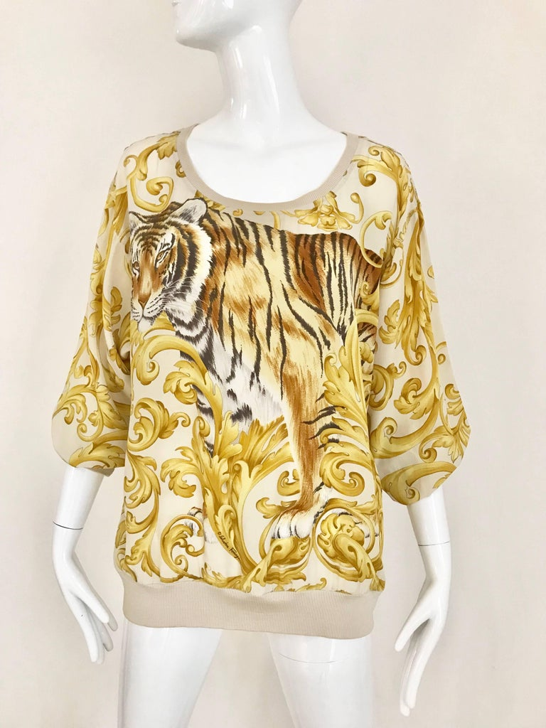 Salvatore Ferragamo Vintage Yellow and Creme Tiger Print Oversize Silk Blouse In Excellent Condition For Sale In Beverly Hills, CA