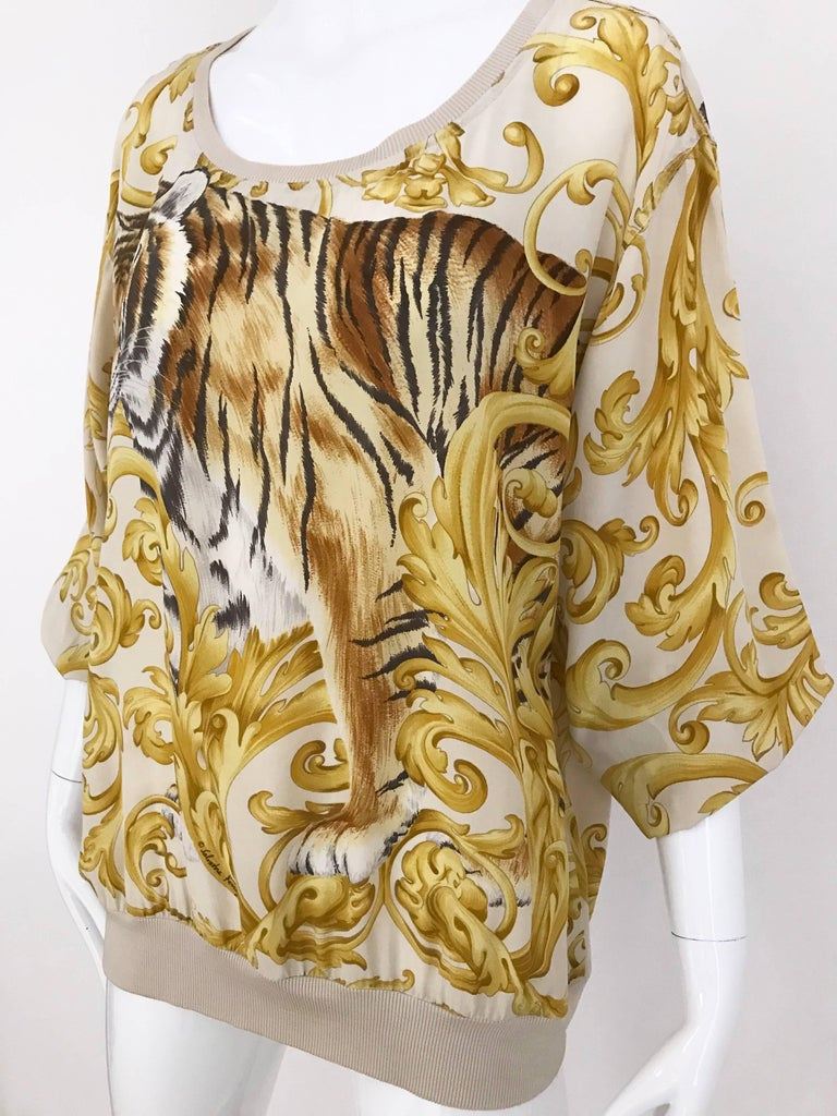 Women's Salvatore Ferragamo Vintage Yellow and Creme Tiger Print Oversize Silk Blouse For Sale