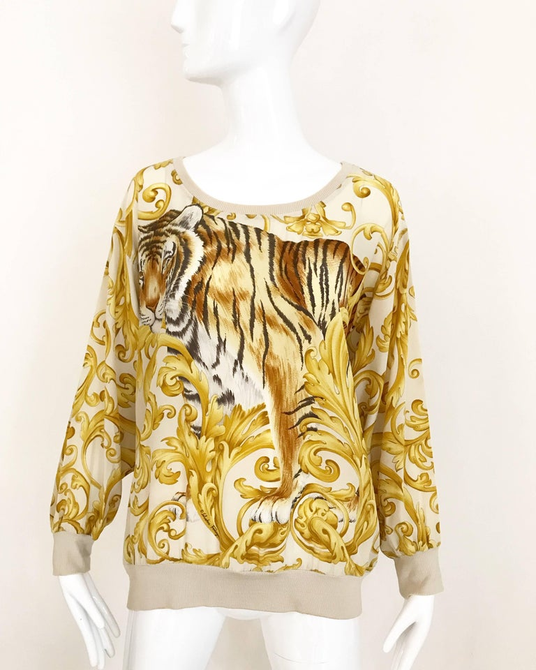 Salvatore Ferragamo Vintage Yellow and Creme Tiger Print Oversize Silk Blouse For Sale 3