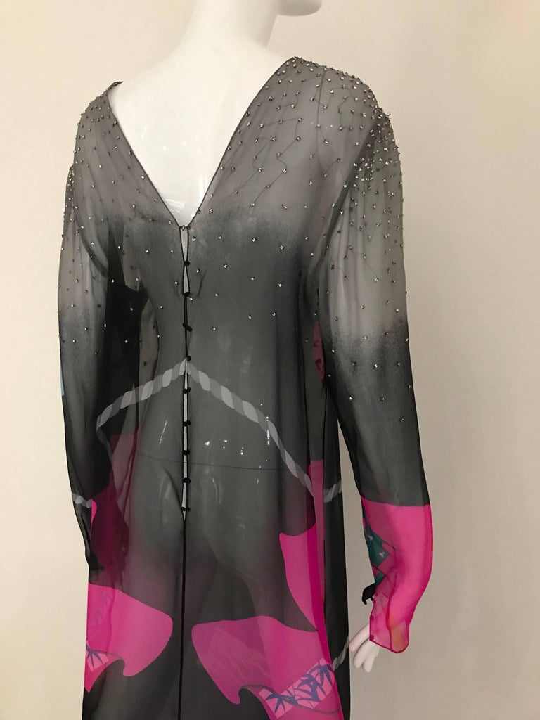 Vintage Hanae Mori Black and Pink Abstract Print Dress Skirt Ensemble For Sale 1