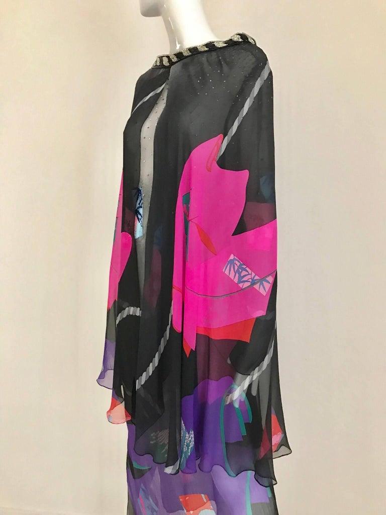 Vintage Hanae Mori Black and Pink Abstract Print Dress Skirt Ensemble For Sale 3