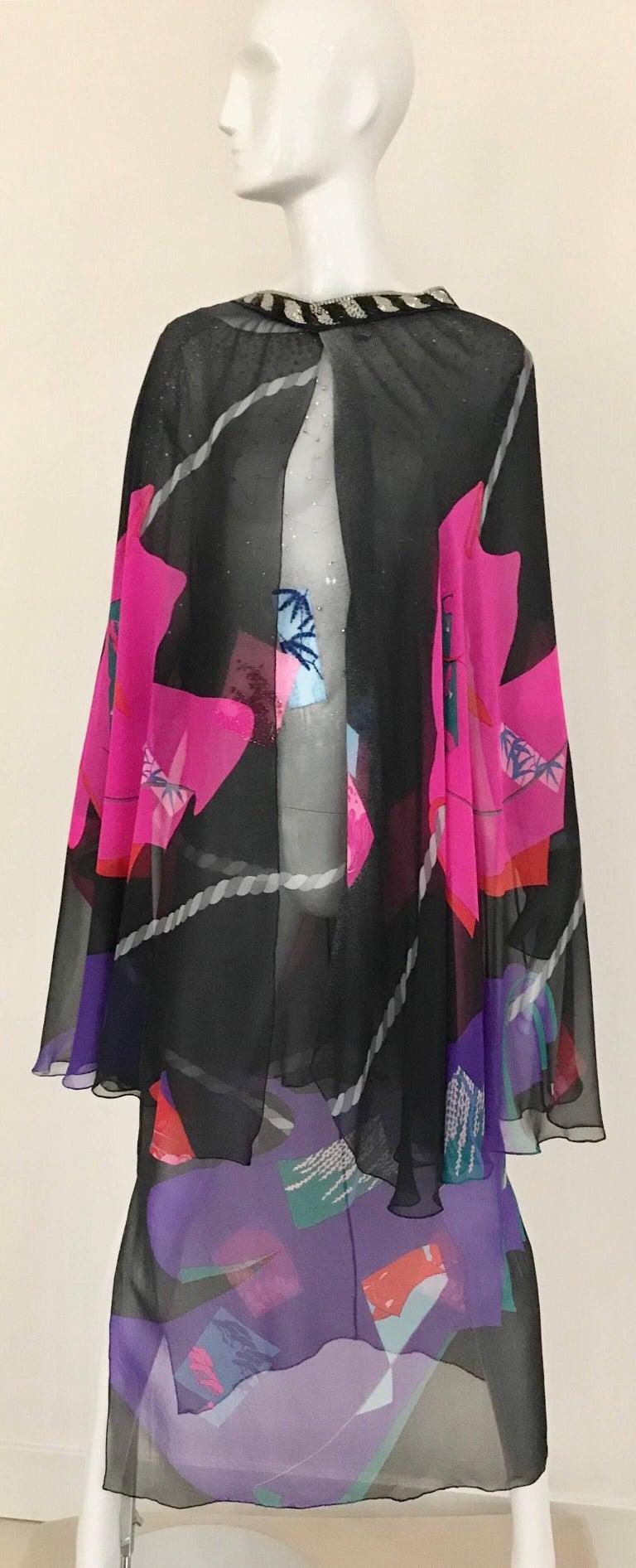 Vintage Hanae Mori Black and Pink Abstract Print Dress Skirt Ensemble For Sale 4