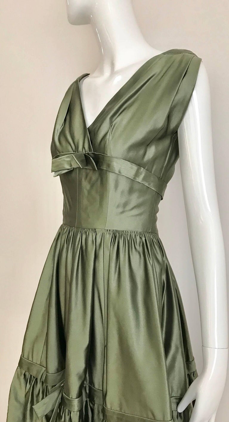 Gray Christian Dior Green Silk Cocktail Dress, 1950s  For Sale