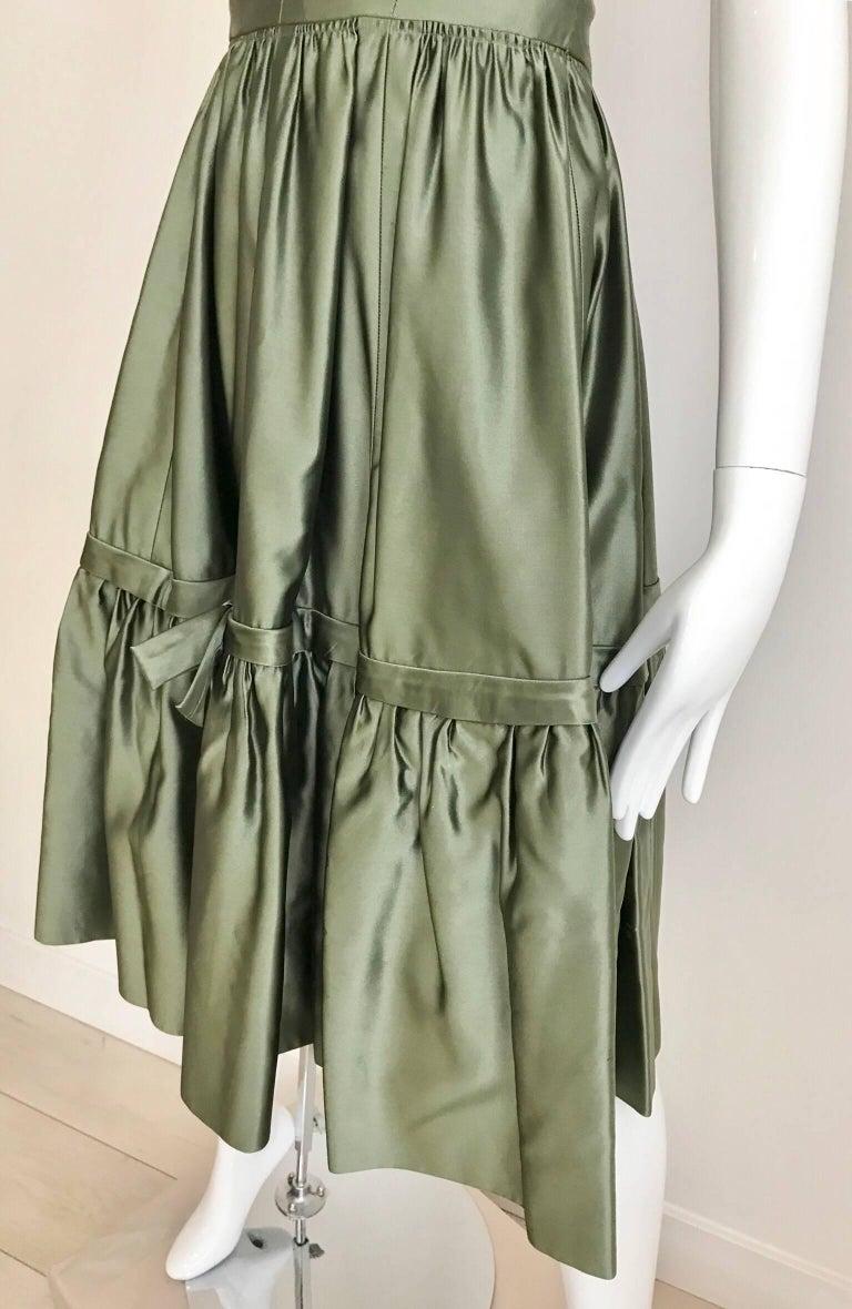 Women's Christian Dior Green Silk Cocktail Dress, 1950s  For Sale