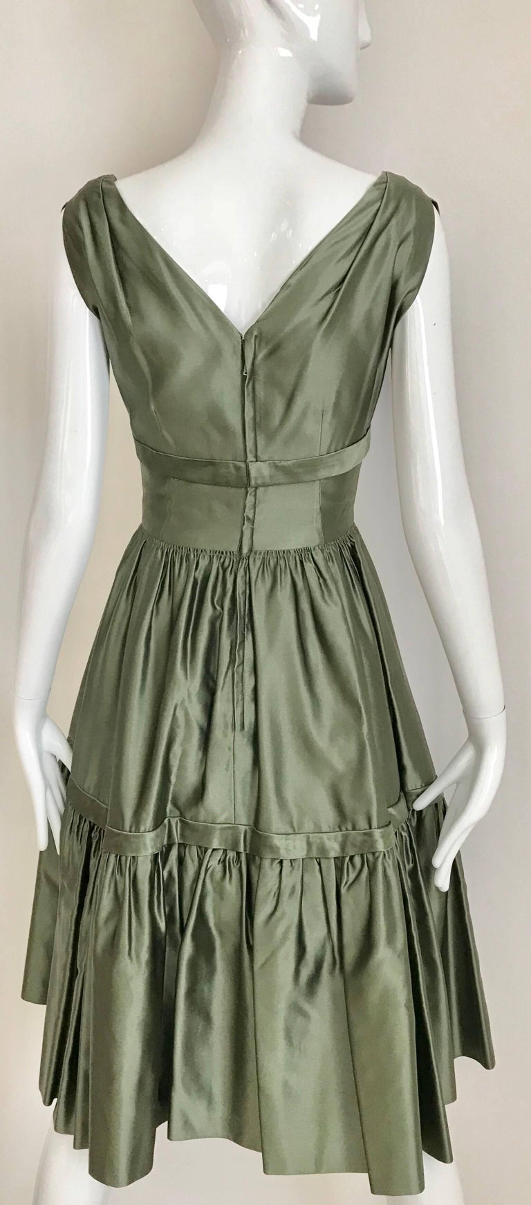 Christian Dior Green Silk Cocktail Dress, 1950s  For Sale 1