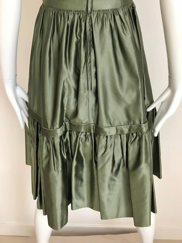 Christian Dior Green Silk Cocktail Dress, 1950s  For Sale 2
