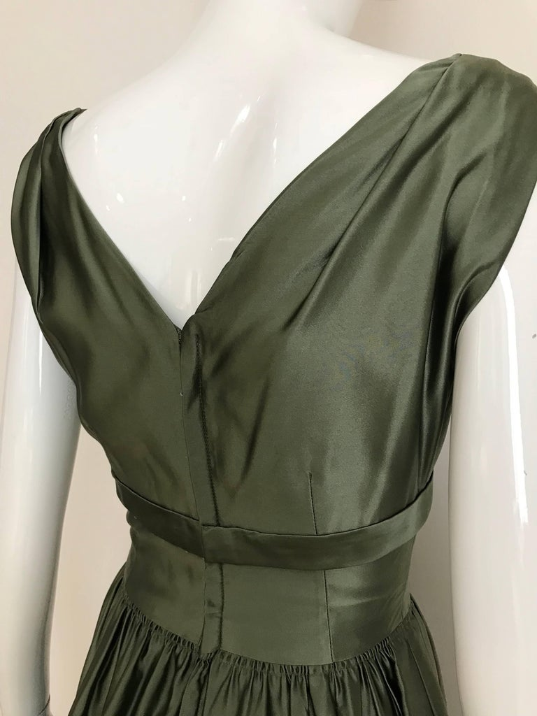 Christian Dior Green Silk Cocktail Dress, 1950s  For Sale 3