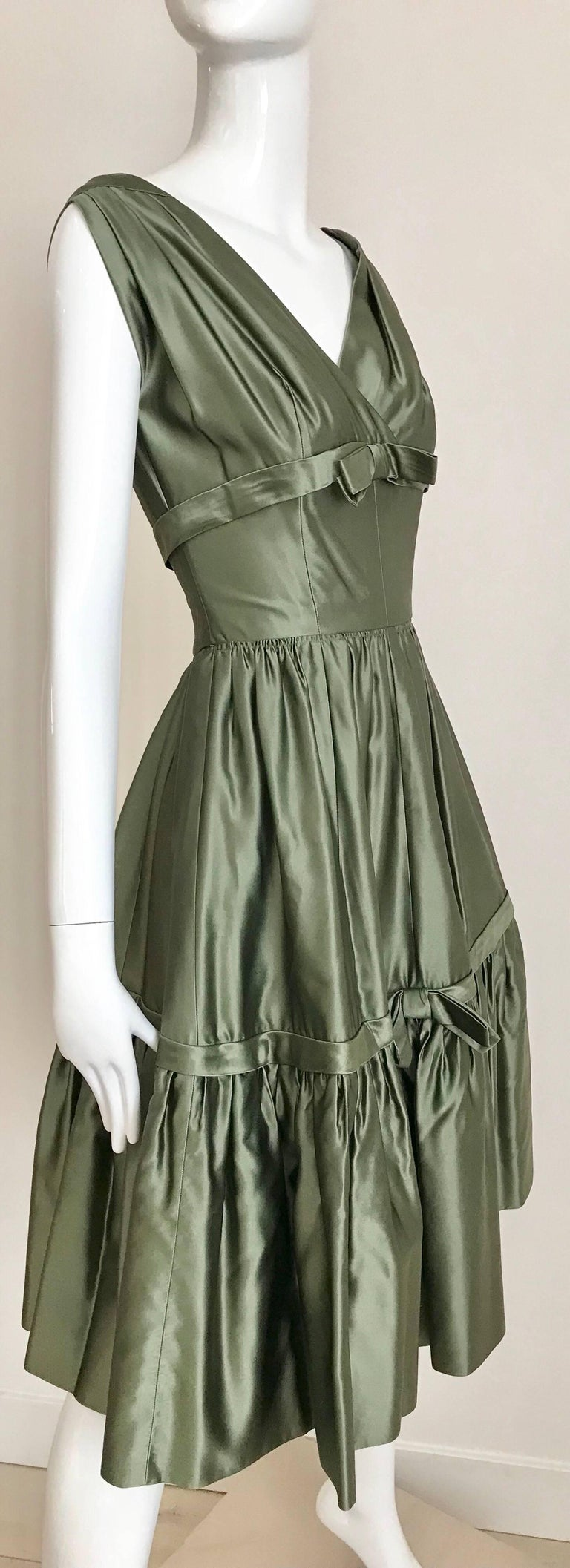 Christian Dior Green Silk Cocktail Dress, 1950s  For Sale 4