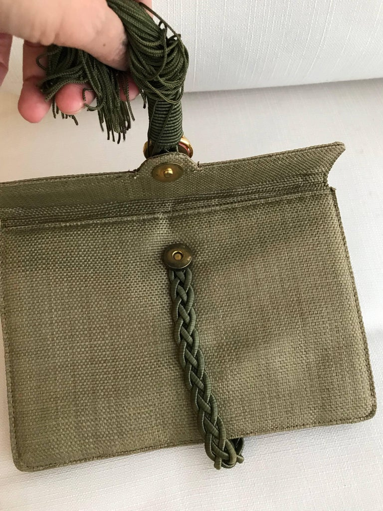 Women's Ugo Correani Olive Green Linen Clutch  For Sale