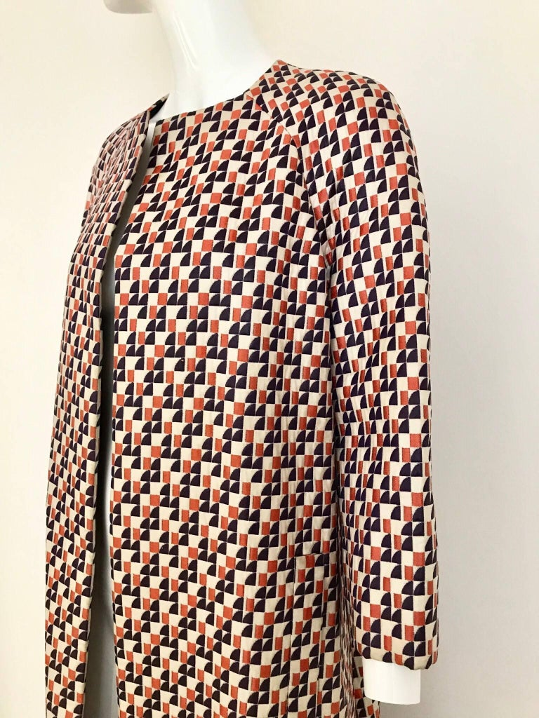 1960s Multi Color Checkered Print Coat In Excellent Condition For Sale In Beverly Hills, CA