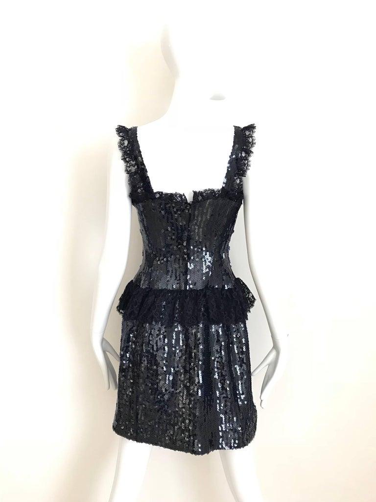 Black 1980s Chanel Navy Blue Sequin Cocktail Dress For Sale