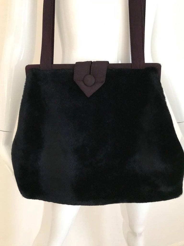 Black 1980s Norma Kamali  Faux Fur Oversized Shoulder Bag  For Sale