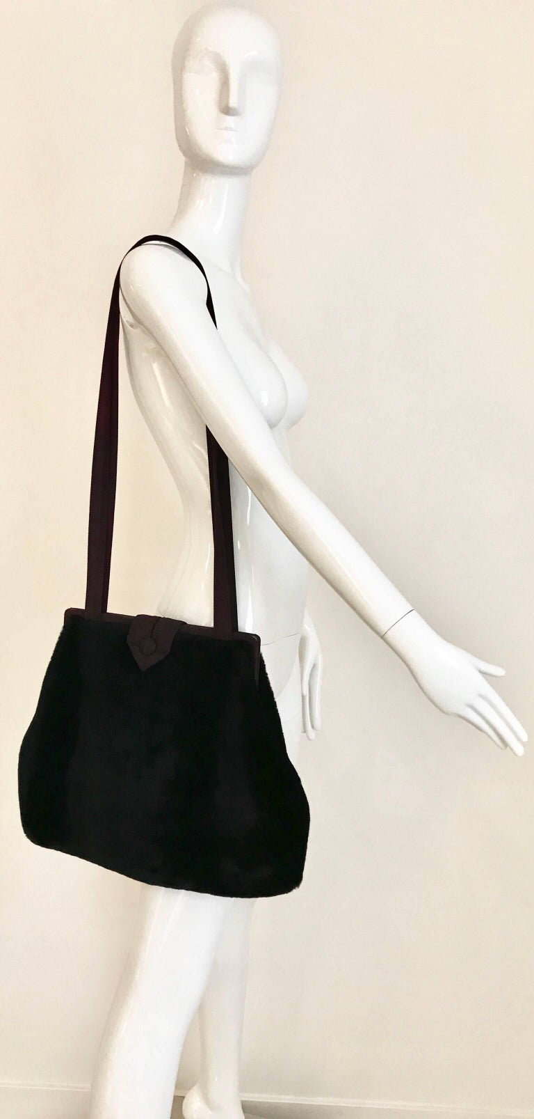 1980s Norma Kamali  Faux Fur Oversized Shoulder Bag  In Good Condition For Sale In Beverly Hills, CA