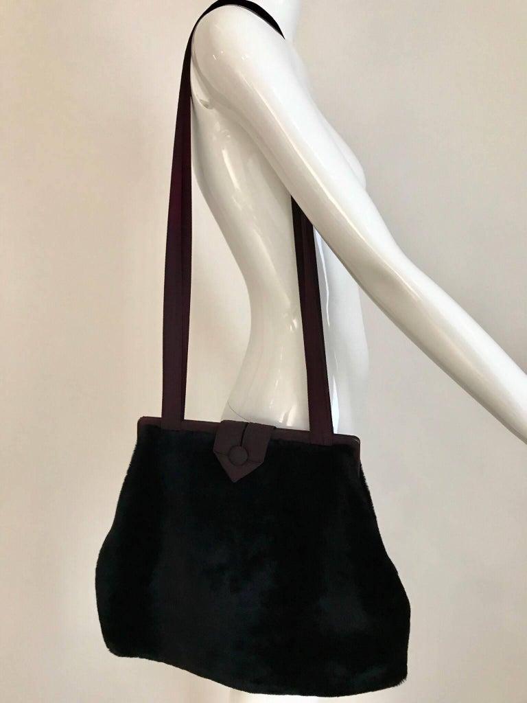 Women's 1980s Norma Kamali  Faux Fur Oversized Shoulder Bag  For Sale