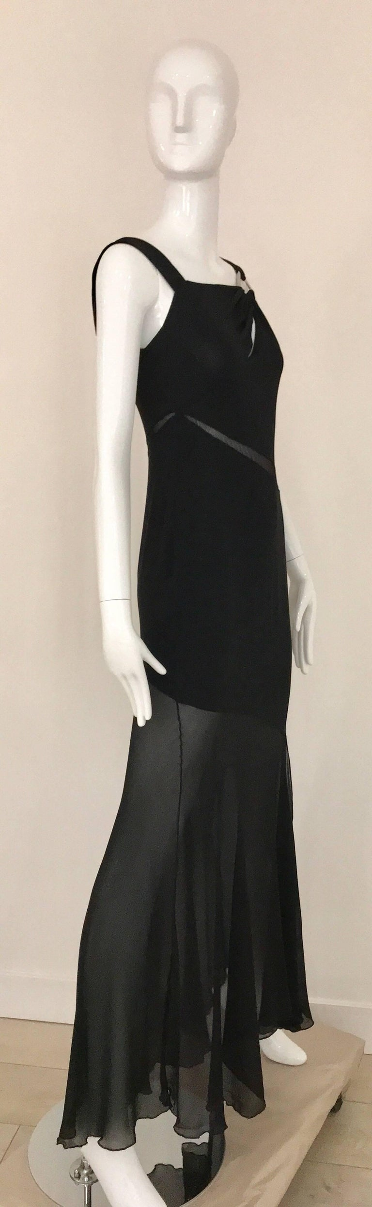 Claude Montana Black Silk Cut Out Gown, 1990s  In Excellent Condition For Sale In Beverly Hills, CA