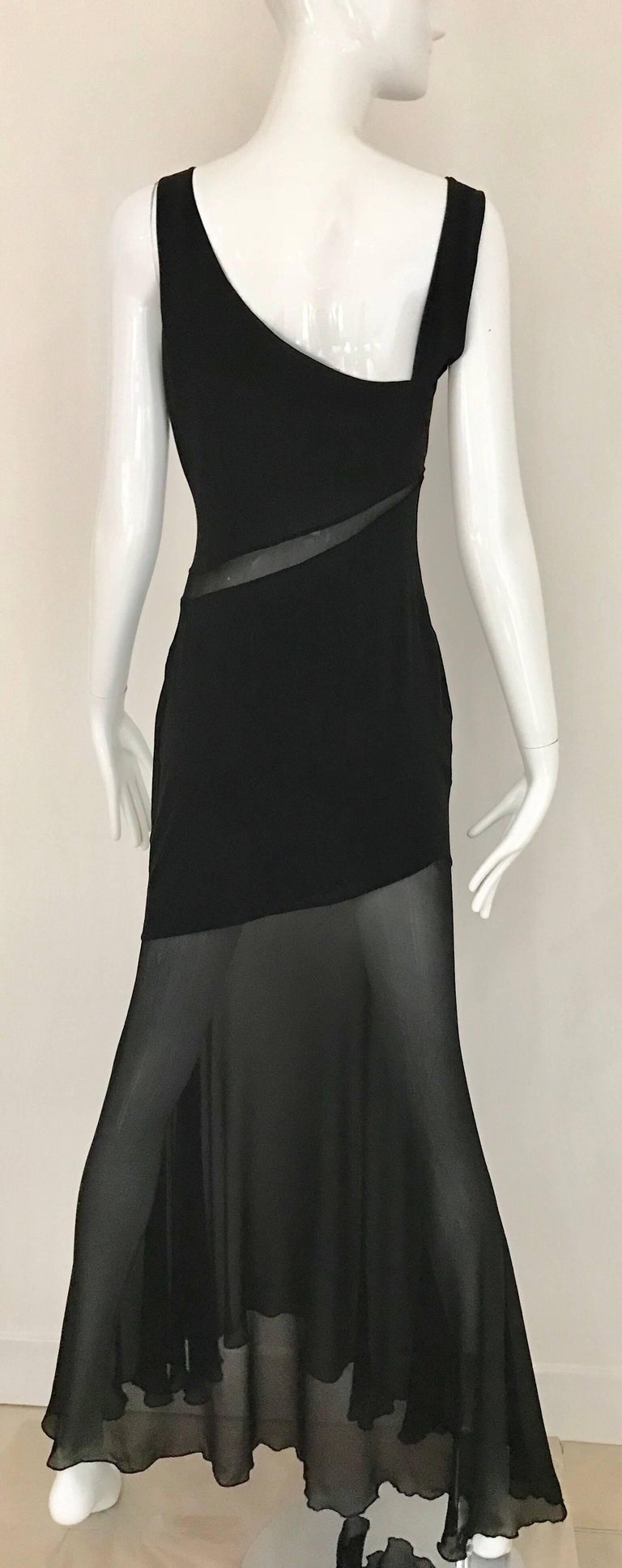 Claude Montana Black Silk Cut Out Gown, 1990s  For Sale 1