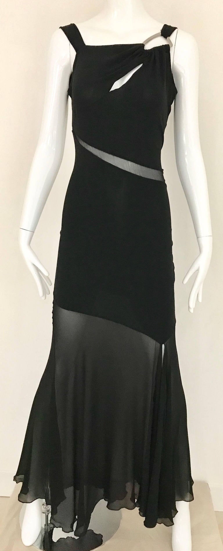 Claude Montana Black Silk Cut Out Gown, 1990s  For Sale 3