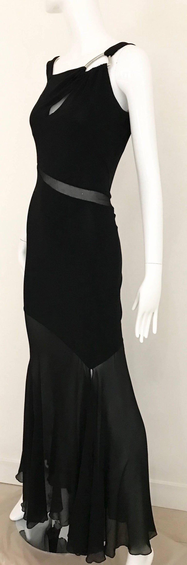 Claude Montana Black Silk Cut Out Gown, 1990s  For Sale 5