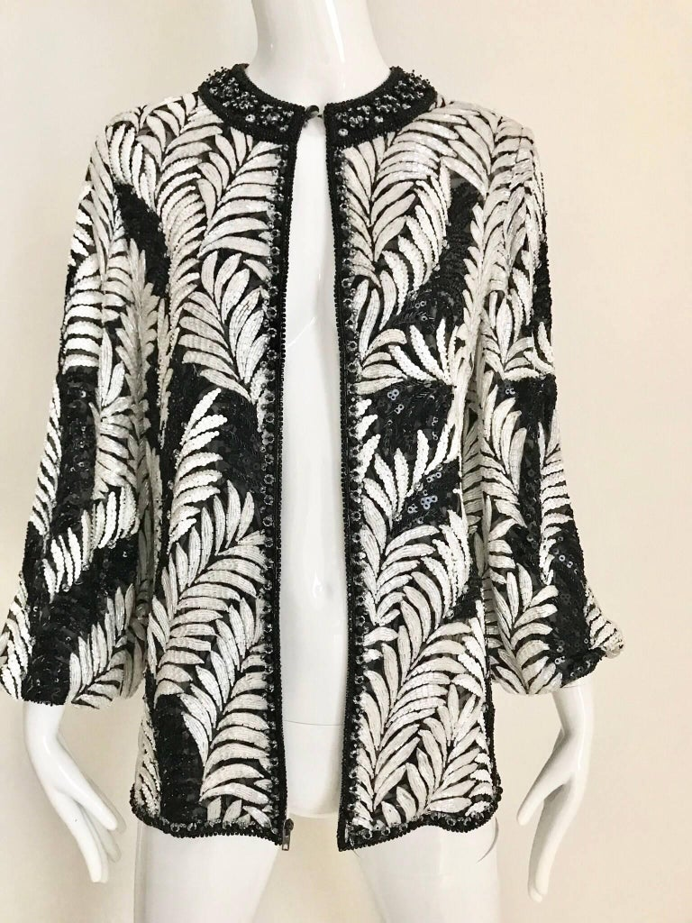 Women's Galanos Black and White Leaf Motif Beaded Jacket, 1980s   For Sale