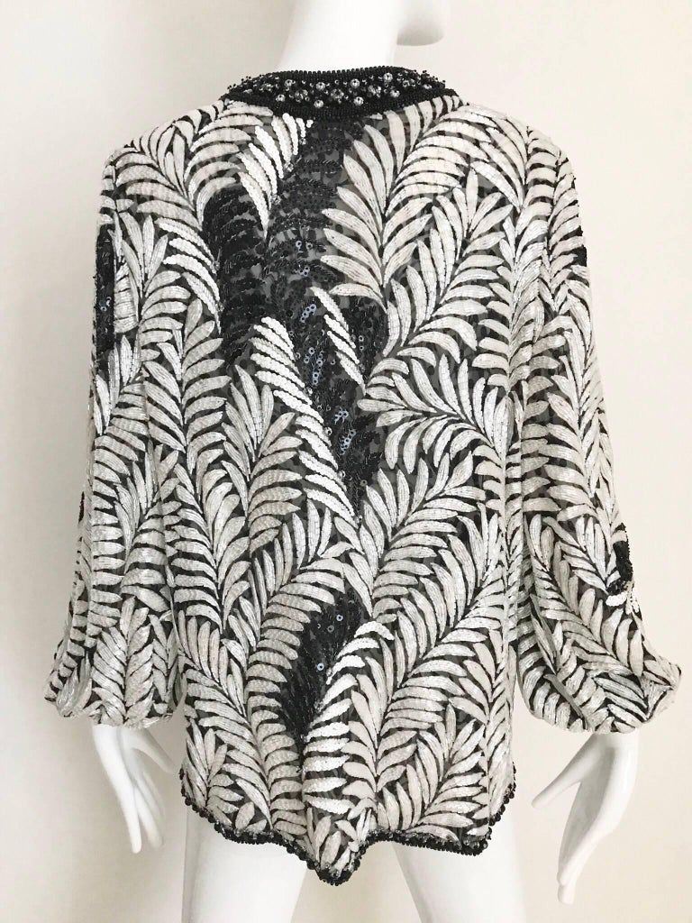 Galanos Black and White Leaf Motif Beaded Jacket, 1980s   In Excellent Condition For Sale In Beverly Hills, CA
