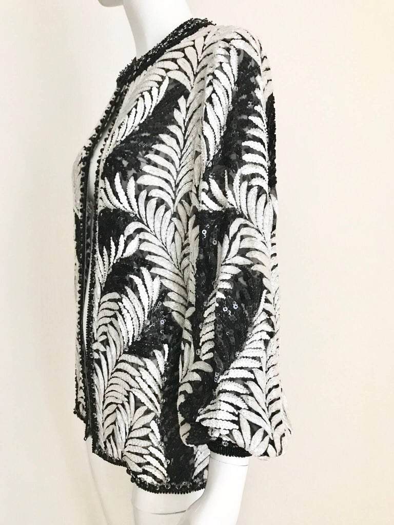 Galanos Black and White Leaf Motif Beaded Jacket, 1980s   For Sale 1