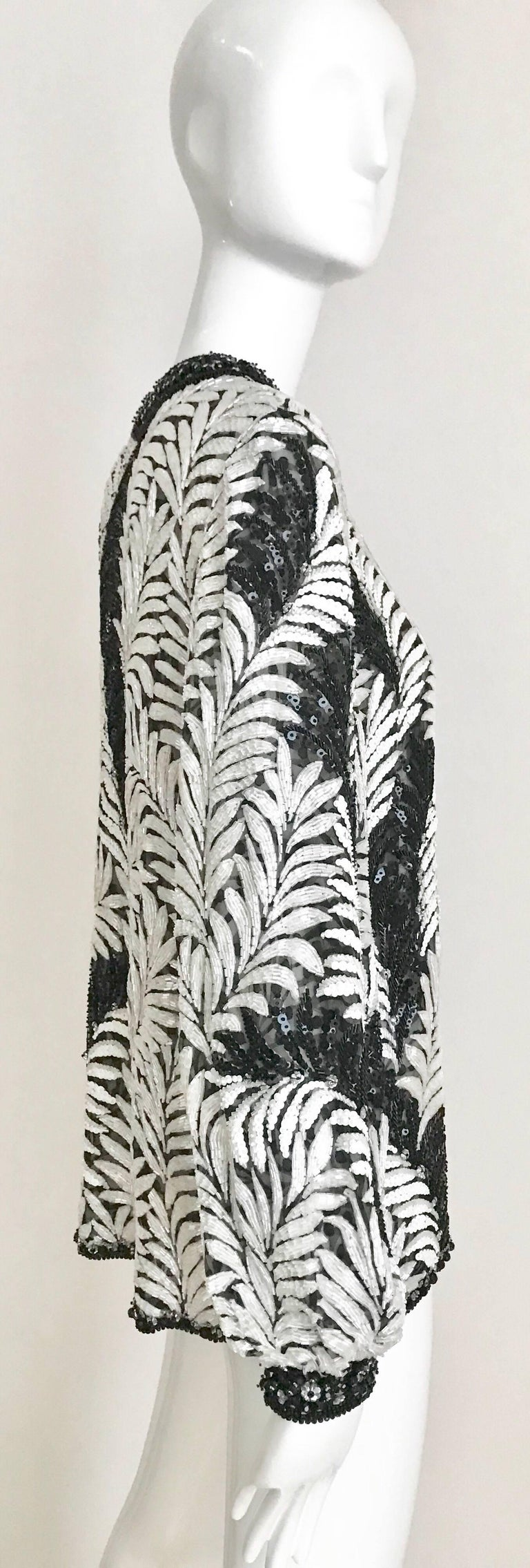 Galanos Black and White Leaf Motif Beaded Jacket, 1980s   For Sale 3