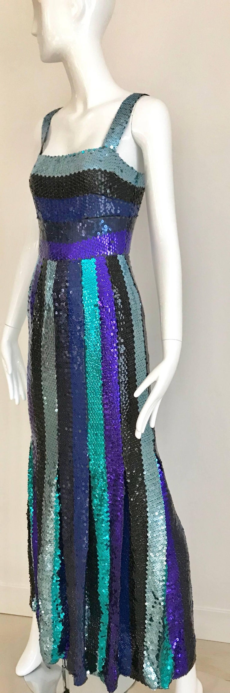 Givenchy Spaghetti Strap Blue Sequins Cocktail Dress, 1960s  In Good Condition For Sale In Beverly Hills, CA