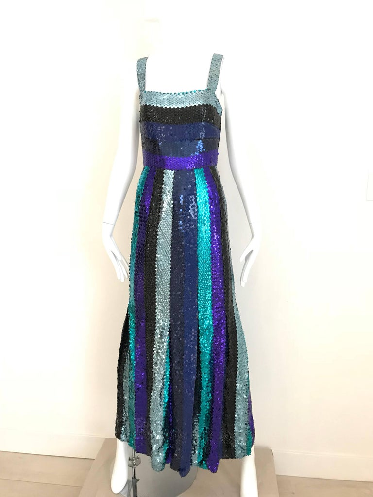 Givenchy Spaghetti Strap Blue Sequins Cocktail Dress, 1960s  For Sale 2