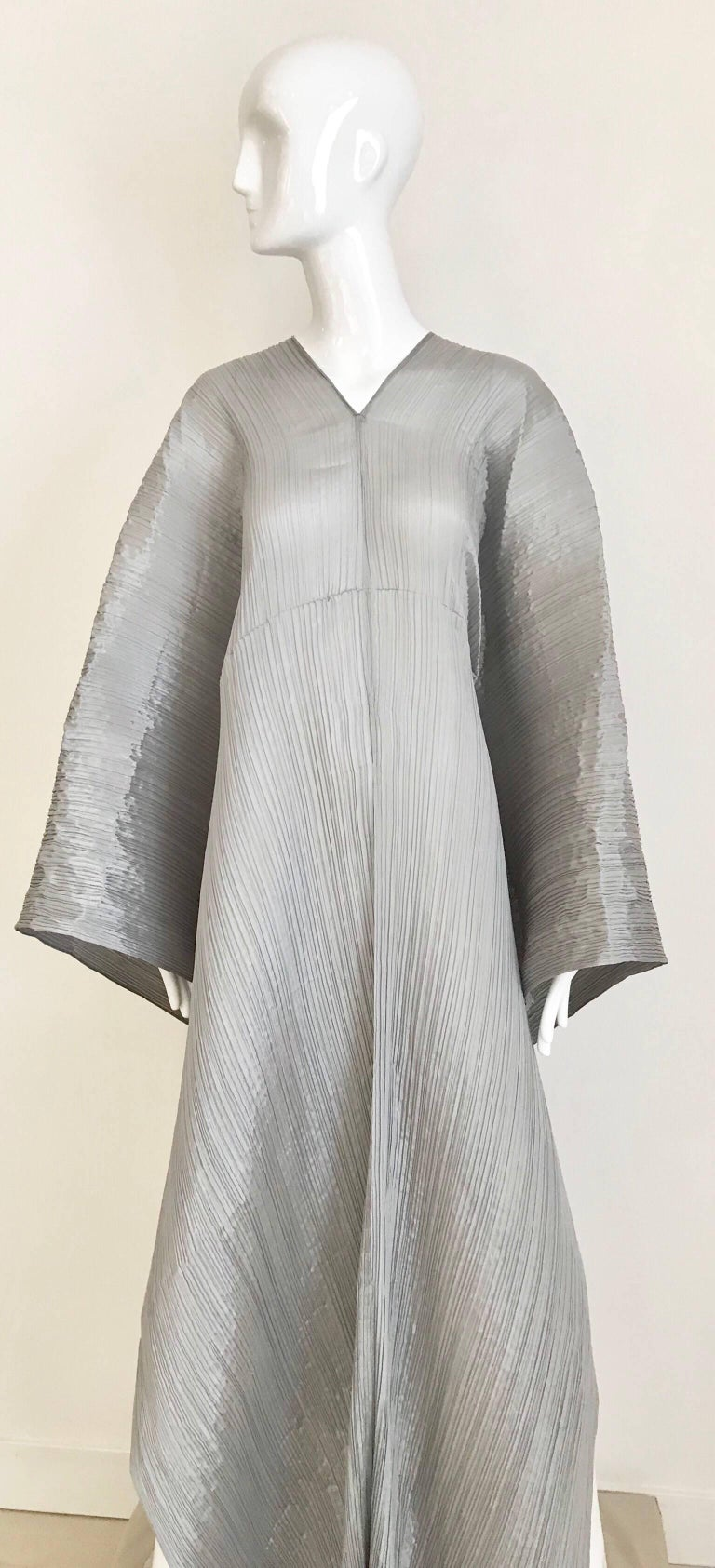 Women's Issey Miyake Pleats Please Silver Grey Caftan Dress For Sale