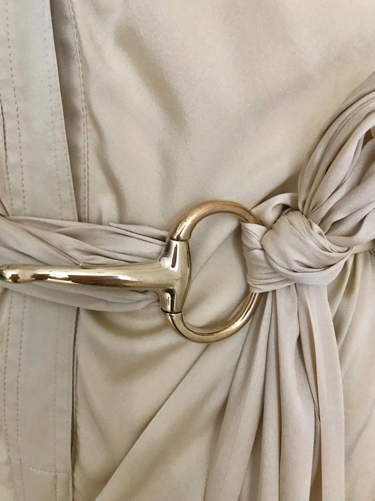 Beige Gucci  by Tom Ford Tan Silk Shirt Dress  For Sale