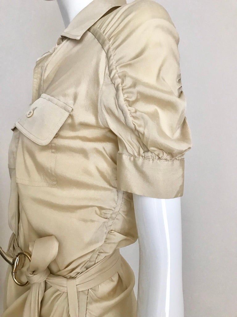 Women's Gucci  by Tom Ford Tan Silk Shirt Dress  For Sale