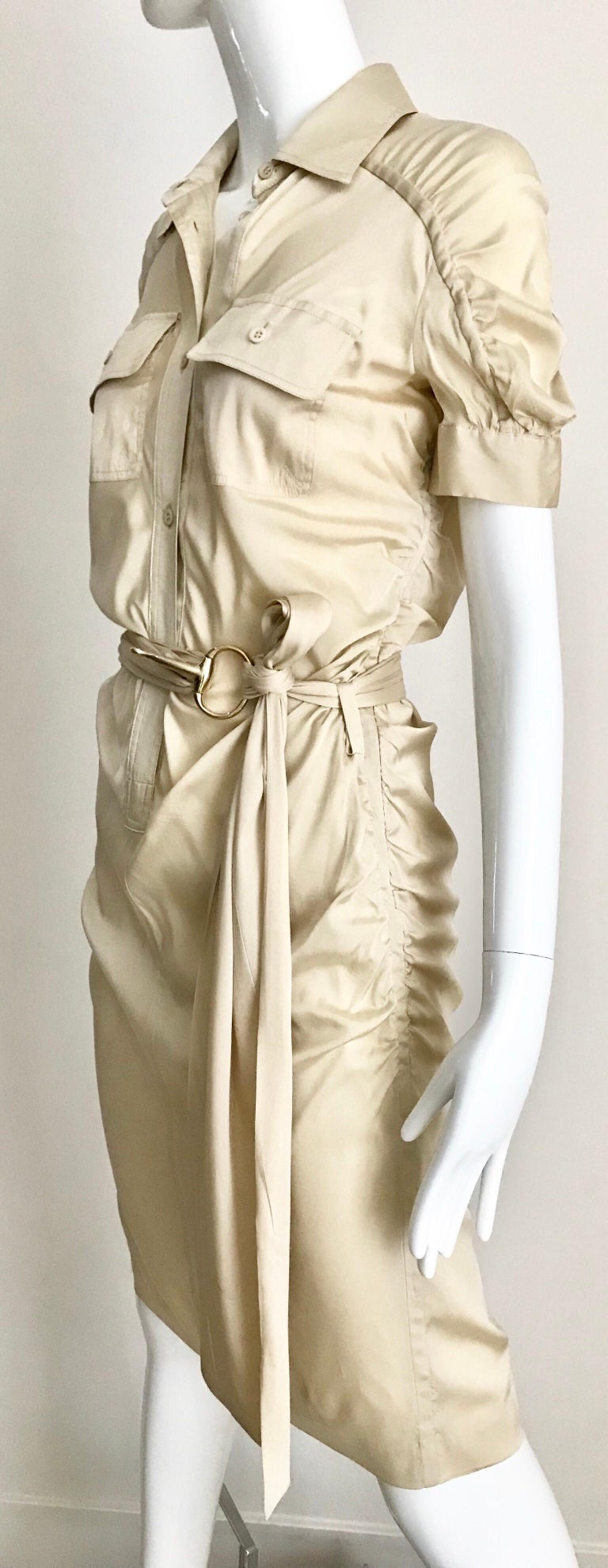 Gucci  by Tom Ford Tan Silk Shirt Dress  For Sale 1