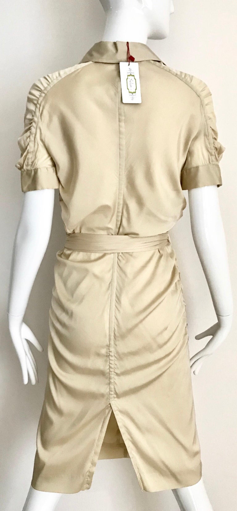 Gucci  by Tom Ford Tan Silk Shirt Dress  For Sale 2
