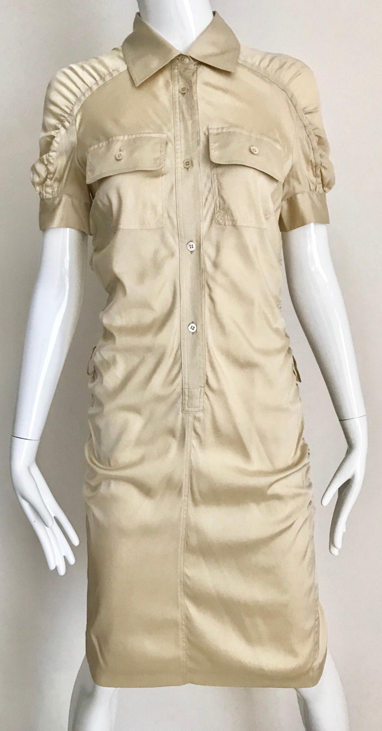 Gucci  by Tom Ford Tan Silk Shirt Dress  For Sale 3