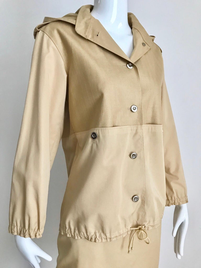 Vintage Courreges Tan Cotton Sport Coat and Skirt Set In Excellent Condition For Sale In Beverly Hills, CA