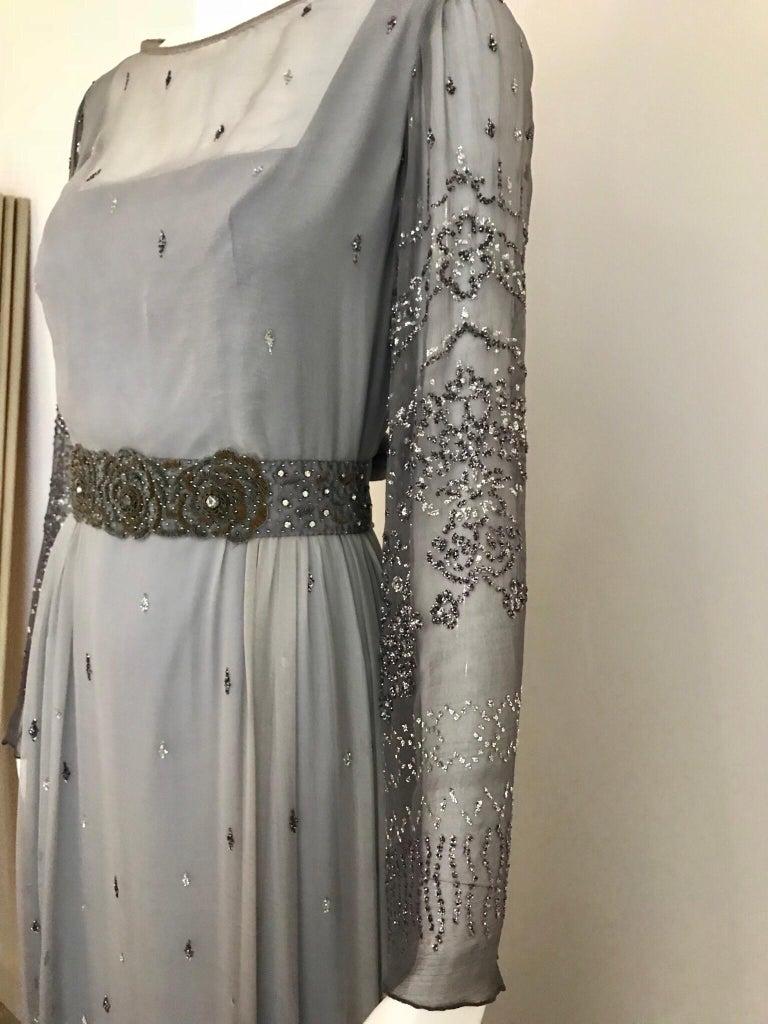 Richilene Gray Silk Chiffon Maxi Dress, 1970s  For Sale 1